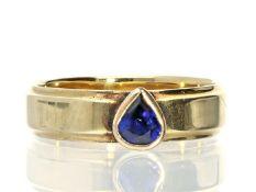 Ring: vintage Goldschmiedering mit feinem Saphir, Markenschmuck von Niessing Ca. Ø20mm, RG64, ca.
