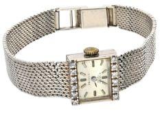 Armbanduhr: hochwertige Damen-Armbanduhr mit Diamantbesatz, 14K Weißgold Ca. 18cm lang, ca. 25,5g,