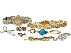 Ring/Armband/Anhänger: interessantes Konvolut Gold- und Silberschmuck, dabei ein schönes