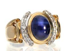 Ring: feiner, ehemals teurer Goldschmiedering mit sehr schönem Saphir von ca. 2,5ct und hochwertigem