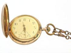 Taschenuhr: Goldsavonnette System Glashütte, um 1900 Ca. Ø52mm, ca. 97g, 14K Gold, alle 3 Deckel aus