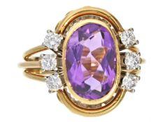 Ring: sehr dekorativer vintage Goldschmiedering mit Amethyst und Brillanten Ca. Ø17,5mm, RG55, ca.