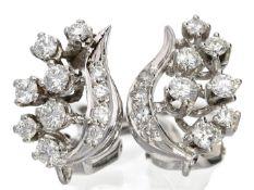 Ohrschmuck: hochfeine Goldschmiede-Ohrringe mit Brillanten, 18K Weißgold Ca. 15 × 10mm, ca. 5,2g,