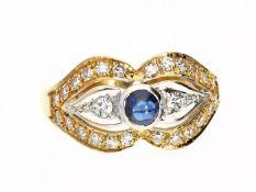 Ring: vintage Saphir/Diamant-Goldschmiedering, 18K Gold Ca. Ø18mm, RG56, ca. 5,5g, 18K Gold,