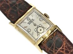 Armbanduhr: Herrenarmbanduhr Gruen Verithin, Gold, 30er Jahre Ca.22x34mm, gewölbtes