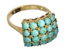 Ring: schöner vintage Goldschmiedering mit zahlreichen Türkisen, 50er/60er Jahre Ca. Ø20mm, RG62,