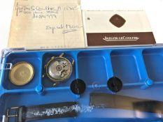 Armbanduhr: große Jaeger Le Coultre Memovox Automatic, 50er Jahre Ca. Ø37mm, 18K Gold, Schraubboden,