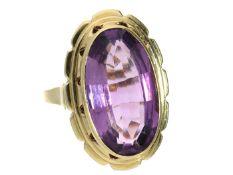 Ring: dekorativer vintage Damenring mit Amethyst, um 1960 Ca. Ø20mm, RG63, ca. 8,3g, 14K Gold,