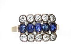 Ring: antiker Saphir/Diamant-Goldschmiedering Ca. Ø17,5mm, RG55, ca. 3,2g, 18K Gold, Ringkopf ca.
