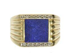 Ring: vintage Herrenring mit Lapislazuli und Diamanten Ca. Ø20mm, RG62, ca. 12,7g 14K Gold, im