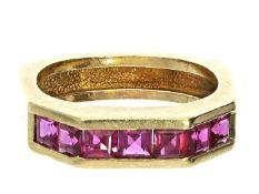 Ring: goldener vintage Damenring mit außergewöhnlicher Schiene und roten Farbsteinen Ca. Ø17mm,