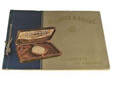 Taschenuhr: hochinteressanter Glashütter Originalkatalog von Lange & Söhne, um 1925 Umfangreicher