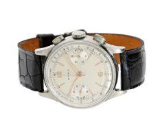 Armbanduhr: sehr seltener, großer Cyma Ärzte-Chronograph in Edelstahl, 50er Jahre Ca. Ø35mm,