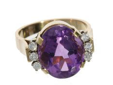 Ring: klassischer vintage Amethyst/Brillant-Goldschmiedering Ca. Ø17,5mm, RG56, ca. 7,9g, 14K