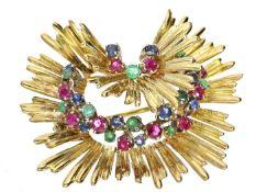 Brosche: ausgefallene und äußerst dekorative Goldschmiedebrosche mit hochwertigen Farbsteinen,