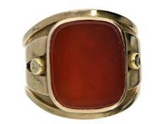 Ring: extrem breiter und besonders schwerer vintage Herrenring mit Karneol Ca. Ø21mm, RG65, ca. 20g,
