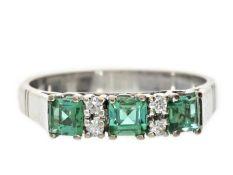 Ring: massiver vintage Turmalin/Diamant-Goldschmiedering, 60er Jahre Ca. Ø19mm, RG60, ca. 4,6g,