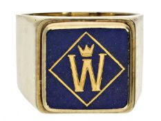Ring: äußerst hochwertiger, handgearbeiteter Herrenring mit Lapislazuli und Gold-Monogramm Ca.