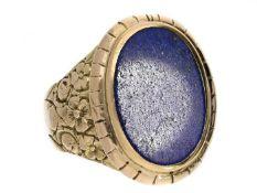 Ring: sehr dekorativer Goldschmiedering mit Lapislazuli,14K Gold Ca. Ø20,5mm, RG64, ca. 16,2g, 14K