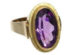 Ring: vintage Goldschmiedering mit Amethyst Ca. Ø19mm, RG60, ca. 10,3g, 14K Gold, besetzt mit