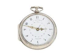 Taschenuhr: große, seltene englische Spindeluhr mit Datum, signiert George Beifield London Ca.