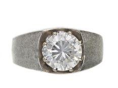 Ring: breiter vintage Damenring mit farblosem Stein Ca. Ø18,5mm, RG58, ca. 6,7g, 14K Weißgold, im