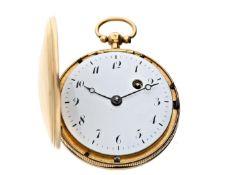 Taschenuhr: Spindeluhr in seltener Savonnette-Ausführung, um 1800, 18K Gold Ca. Ø41mm, ca. 48g,