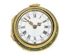 Taschenuhr: frühe, seltene englische Doppelgehäuse-Spindeluhr, Henry Hurt London 1759, bekannter