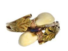 Ring: vintage Goldschmiedering mit Grandeln Ca. Ø18mm, RG57, ca. 6,4g, 14K Gold, der mit Blättern