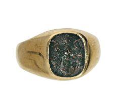Ring: alter Herrenring/Siegelring, 50er Jahre Ca. Ø16,5mm, RG52, ca. 7,5g, 14K Gold, massive