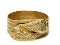 Ring: außergewöhnlicher antiker Goldschmiedering mit figürlicher Darstellung von 2 Fischen Ca. Ø20,