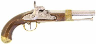 Perkussionspistole, eidg. Ord. 1817/42, Kal. 17.6mm@ Hersteller unbekannt. Kantonsschlag Basel