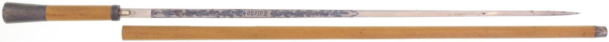Stockdegen, Toledo@ KL 700mm, TL 890mm, Klinge symmetrische Form, volle Wurzel, hintere Hälfte mit