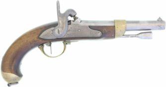 "Perkussionspistole, Frankreich, Mod. 1822 Tbis, Kal. 17.6mm@ Schlossplatte sig. ""Mre Impale de St."