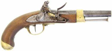 """Steinschlosspistole, F-Ord. AN XIII, Kal. 17.6mm@ Auf Schlossplatte """"T"""" unter Krone . Auf Laufende"""