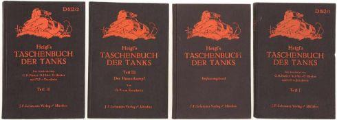 """Konvolut von 4 Taschenbücher """"Heigl's Taschenbuch der Tanks"""", neu bearbeitet von O.H. Hacker,"""