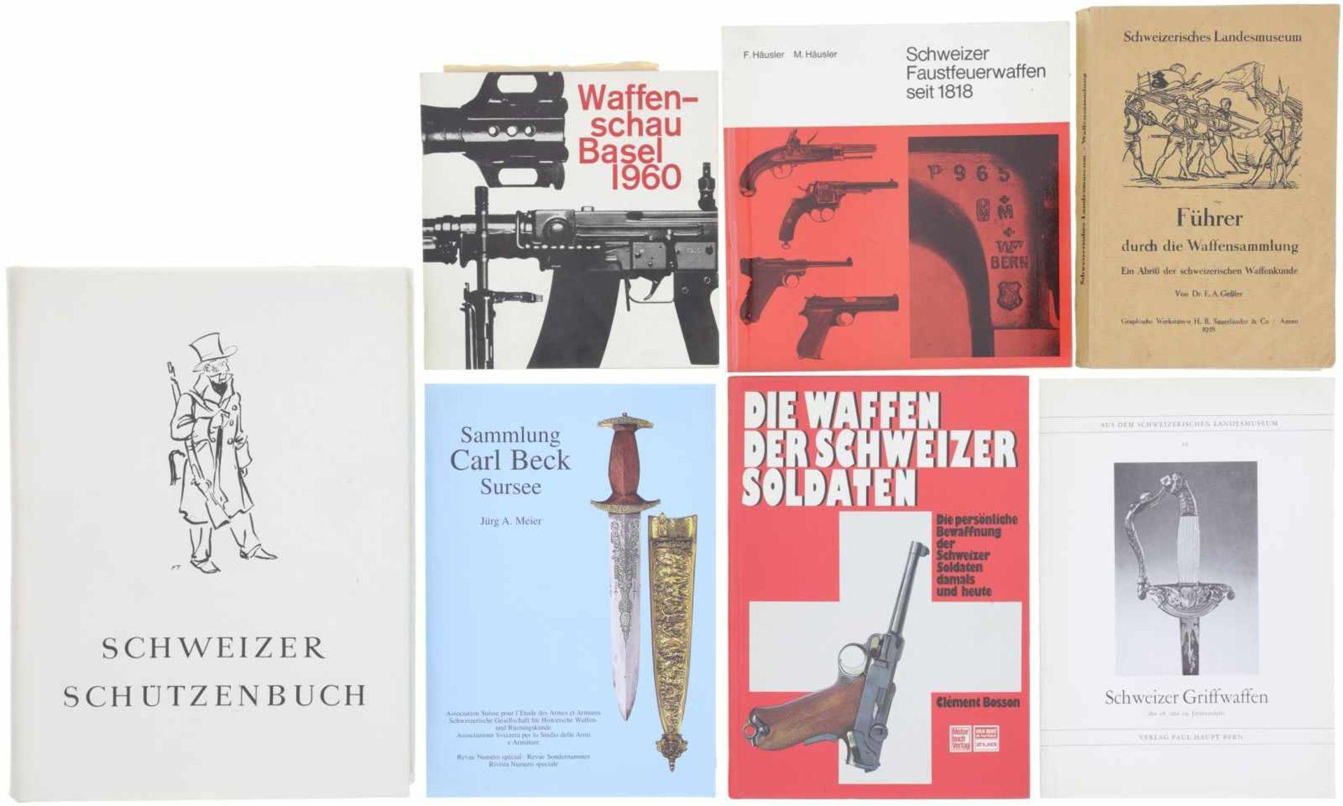 Konvolut von 7 Büchern/Broschüren von Schweizer Waffen@ 1. Führer durch die Waffensammlung des