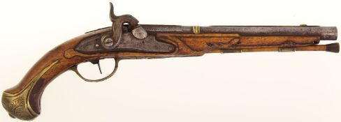 Perkussionspistole, aptiert aus Steinschloss, Kal. 15.5mm@ LL 27.5cm, Rundlauf mit achtkantiger