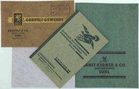 """Konvolut von 3 seltenen Originalkatalogen@ 1. """"Greifelt-Gewehre"""", Greifelt & Co. Gewehrfabrik"""
