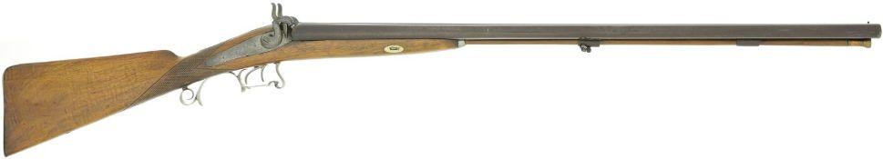 Perkussionsdoppelflinte, belgisch, Kal. 12@ LL 750mm, TL 1170mm, Damastläufe brüniert,