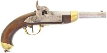 Perkussionspistole, eidg. Ord. 1842, Kal. 17.6mm@ Hersteller Auguste Francotte, Liege. Auf Lauf