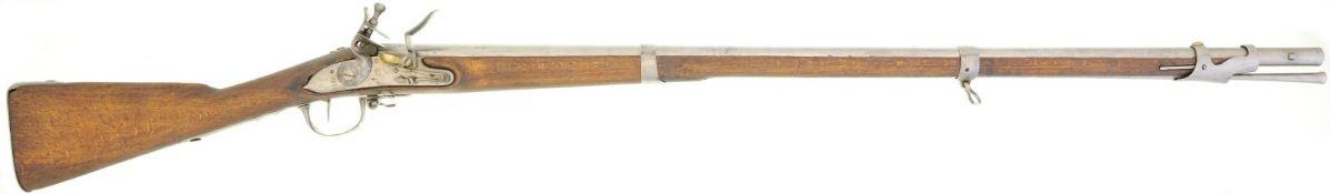 Steinschlossgewehr, Infanterie ca. 1750, Kal. 17.6mm@ LL 1020mm, TL 1400mm, Rundlauf, Wurzel