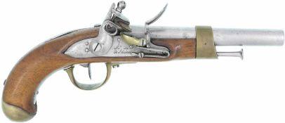 """Steinschlosspistole, franz. Mod. an 13, """"Mre. Imp. de St. Etienne"""", Kal. 17.6mm@ LL 200mm, TL 350mm,"""