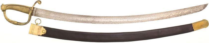 Marinesäbel Italien um 1840@ KL 75cm, breite gebogene Rückenklinge mit beidseitiger Hohlbahn,