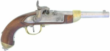 Perkussionspistole, Mod. 1842, Hersteller A. Francotte, Liege. Kal. 17.6mm@ LL 180mm, TL 370mm.