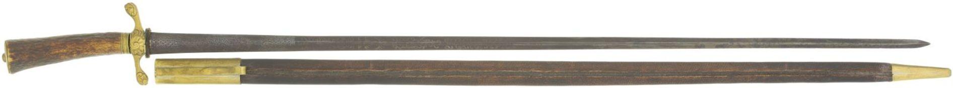 Hirschfänger, 17. Jahrhunder@ KL 655mm, TL 770mm, geschwärzte Klinge, linsenfärmig in rhombisch