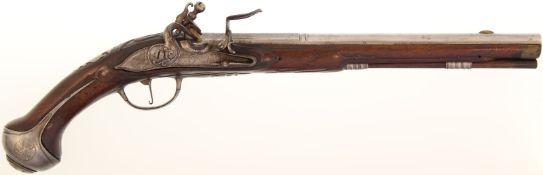 Steinschlosspistole, um 1700, Kal. 15mm@ 35cm langer Rundlauf mit achtkantiger Wurzel und