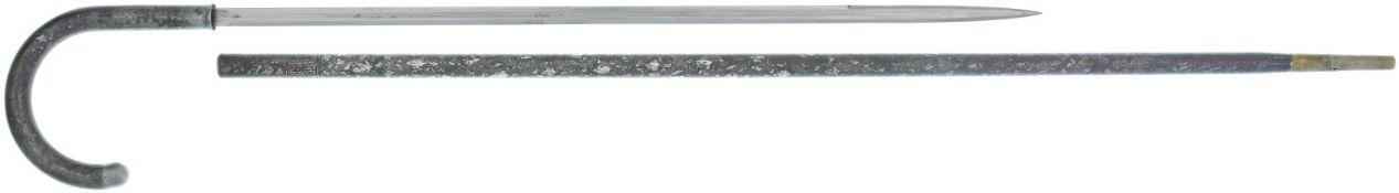 Stockdegen, unbekannter Hersteller@ KL 570mm, TL 940mm, eiserner Griff, Klinge mit beidseitigem