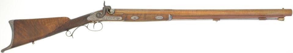 Perkussionsbüchse, Elefantengewehr, belgisch, Kal. 23.5mm@ LL 740mm, TL 1200mm, runder bräunierter