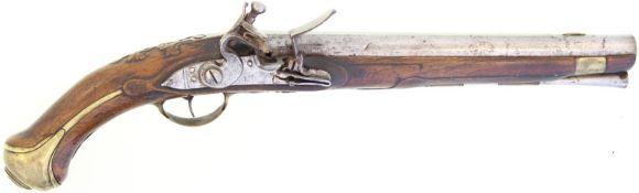 Steinschlosspistole, F-Ord. Mle 1733 Kal. 17.6mm@ LL 312mm, flache Schlossplatte mit angefasten